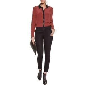 Walter Baker small leather trim Marcy Silk Blouse